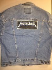Vtg LEVIS ~ Denim Jean Jacket ~ Size: XL ~ METALLICA Lightening Patch ~ USA
