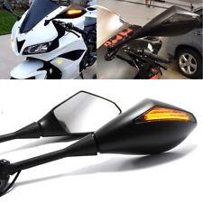 For Honda CBR600RR/Suzuki GSXR600 Motorcycle LED Turn Signal Mirrors Matte Black