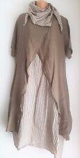 New Beige Linen Italian Lagenlook tunic dress top stripe scarf 12 14 16 18 20