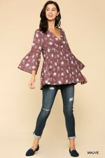 SML BLUHEAVEN by UMGEE MAUVE floral Button Down BABYDOLL Blouse/shirt/Top BHCS