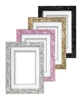 Mounted Glitter Range Photo Frame Sparkling Glitter Effect Picture Photo Frame