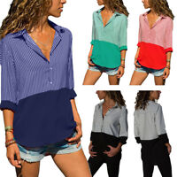 NEW Womens Summer Casual Long Sleeve Stripe Shirts Ladies OL Tops Blouse T-shirt