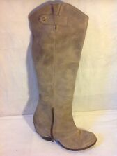 Fergie Brown Knee High Leather Boots Size 7.5M (Uk Size 5.5)