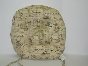 """Resort Spa Outdoor Tufted Round Seat Pad ~ Tropic Map ~ 19"""" x 4"""" Thick NEW"""