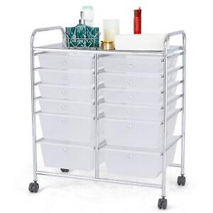 Rolling Storage Cart 12-Drawer Trolley Paper Organizer w/4 Wheels Home Office