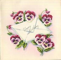VINTAGE EMBOSSED MCM PURPLE PINK CRANBERRY PANSIES HAPPY BIRTHDAY GREETING CARD