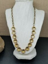 """J. Crew Crystal Brulee Taupe Enamel Gold Ox Plated Necklace 22"""""""
