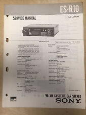 Sony Service Manual for the ES-R10 Cassette Car Stereo ~ Repair