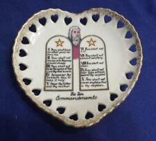 Vintage Sonsco Japan Ceramic Ten Commandments Heart Shape Trinket Collector Dish