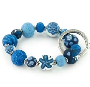 NEW JILZARAH Handmade Clay Beads NAUTICAL BLUE 15mm SMALL Wrist Keychain