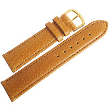 18mm Mens Fluco Record Tan Buffalo-Grain Leather GOLD Buckle Watch Band Strap