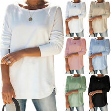 Womens Plain Long Sleeve T-shirt Casual Loose Basic Tee Tunic Tops Pullover US