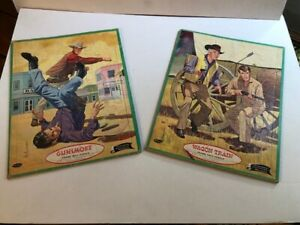 Whitman Frame Tray Puzzles No 4427 Gunsmoke by Columbia Wagon Train by Revue