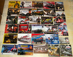 """VERY BIG COLLECTION OF """"100"""" DIFFERENT OLD&NEW TOP FUEL DRAGSTER RACING HANDOUTS"""