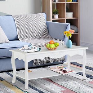 Wooden Coffee Tea Table Modern White Shelf Storage Living Room Home Furniture