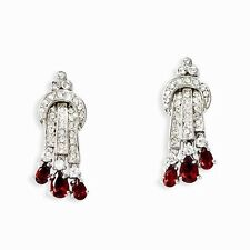 Jackie Kennedy Silver-Tone Red and White Raindrop Earrings Camrose & Kross