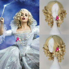 New Movie Disney Cinderella Fairy Godmother Short Curly Blonde Anime Cosplay Wig