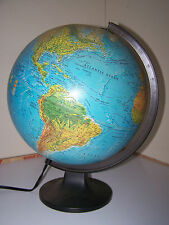 "12"" Lighted Replogle World Globe Topigraphical Light Lamp Map of Earth"