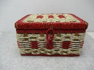 "Vtg Small Kelpo Red/White Wicker Sewing Basket 6 1/4"" x 5 1/2"" x 3 3/4"" T"