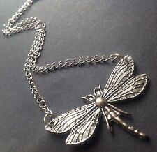"""Large DRAGONFLY Silver Chain Necklace 16"""""""