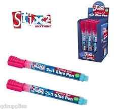 2 x Stix 2 In 1 Glue Pens Fine Metal Nib Rolling Ball Acid Free Photo Safe S5736