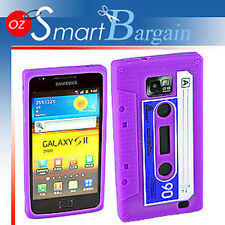 CASSETTE TAPE PURPLE SILICONE SKIN CASE COVER FOR SAMSUNG i9100 GALAXY S2 +SP