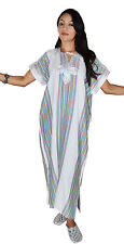 Moroccan Kaftan Caftan Beach Cover Up Summer Dress Casual Linen Sm-Lg White