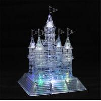 3D Crystal Castle Puzzle Music Flashing Light Jigsaw Model Blocks 105Pcs QZ