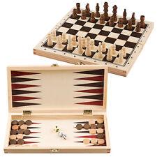 3-in-1 Spielset Schach Backgammon Dame mit Spielfiguren Würfel Spielbrett Holz