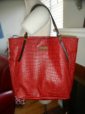 Michael Kors Collection Gia Red Croco Embossed Leather Shoulder Bag $895-