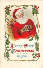 D92/ Santa Claus Merry Christmas Holiday Postcard 1921 Chicago Large Belt 22
