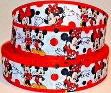 "Grosgrain Ribbon 3/8"", 7/8"", 1.5"" & 3"" Minnie Mouse & Mickey Mouse Printed."