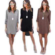 Irregular V-Neck Dress Casual Chiffon Hot L-5XL Tunic Shirt Long Sleeve Women's