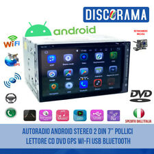 """AUTORADIO ANDROID STEREO 2 DIN 7"""" POLLICI LETTORE CD DVD GPS WI-FI USB BLUETOOTH"""