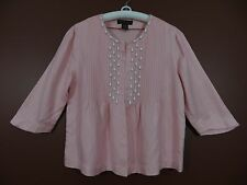 TB01744- CHADWICK'S Women 58% Linen Rayon Pleated Beaded Blouse Hot Pink Sz 8