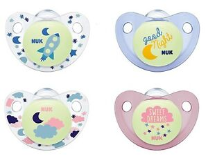 NUK Night & Day Silicone Soothers Size1 And Size2 (Blue & Pink)