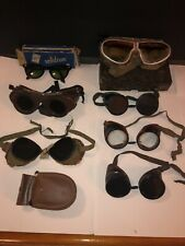 Vintage Lot 7 (Seven) Goggles Steampunk Glasses Authentic Safety Motorcycle