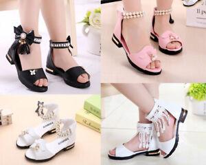 Summer girls sandals princess soft bottom Roman shoes Beach shoes party dress UK