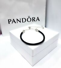 NEW Authentic PANDORA 925 CZ Sliding Black Leather Charm Bracelet 597225CBK
