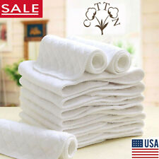 Cotton Cloth baby Diapers Inserts Liners 3 Layers Soft Reusable Newborn Nappy US