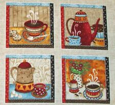 "Coffee Cup Pot Java Fabric Quilting Crafting 7"" Blocks Quilt Squares #63"