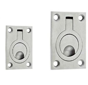 Stainless Steel FLUSH RING PULL Trap Door Furniture Cabinet Cupboard Handle Pull