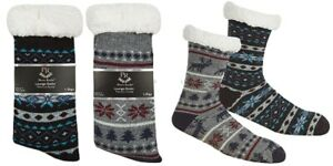 Men's Knitted Chunky Lounge Slipper Cosy Non Skid Gripper Bed Socks Size 6-11