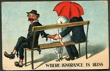 C1910 Comic/cartoon Card - Three on a Bench 'Where Ignorance is Bliss'