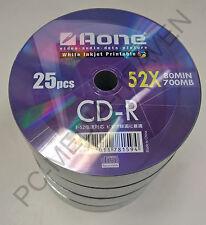 100 x CDR CD-R Blank Discs Full Face White Inkjet Printable 700mb 80mins 52x CDs