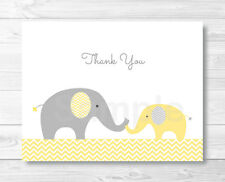Yellow Chevron Elephant Thank You Card Printable