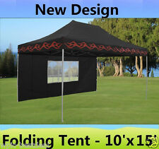 10' x 15' Pop Up Canopy Party Tent Gazebo EZ - Black Flame - E Model