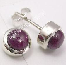 925 Sterling Silver NATURAL RUBY Stud Brand New Earrings 0.8CM Women's Jewellery