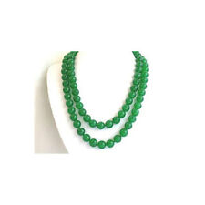 """8 mm round green jade beads long necklace 35"""""""