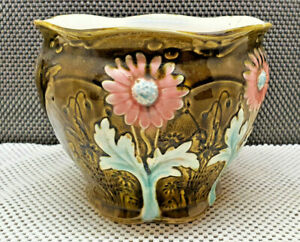 Antique Cache Pot IN Slip Flower Pink And Blue Numbered And Signed